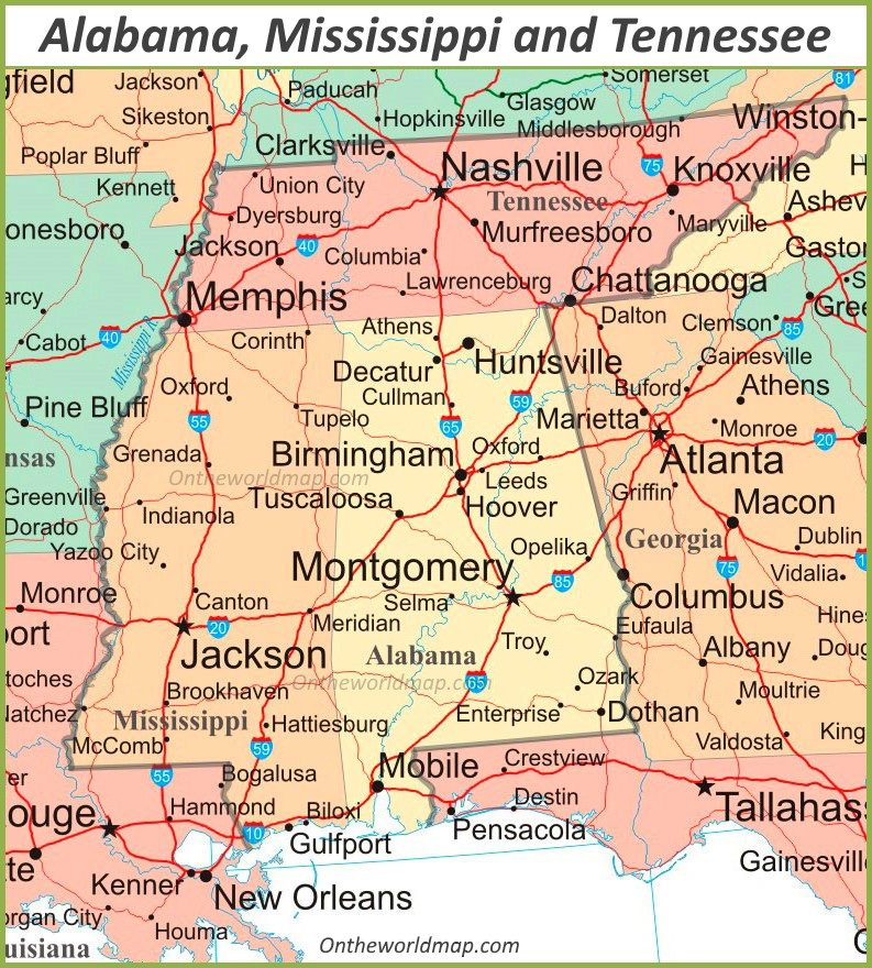 map of mississippi and alabama with cities Map Of Alabama Mississippi And Tennessee map of mississippi and alabama with cities