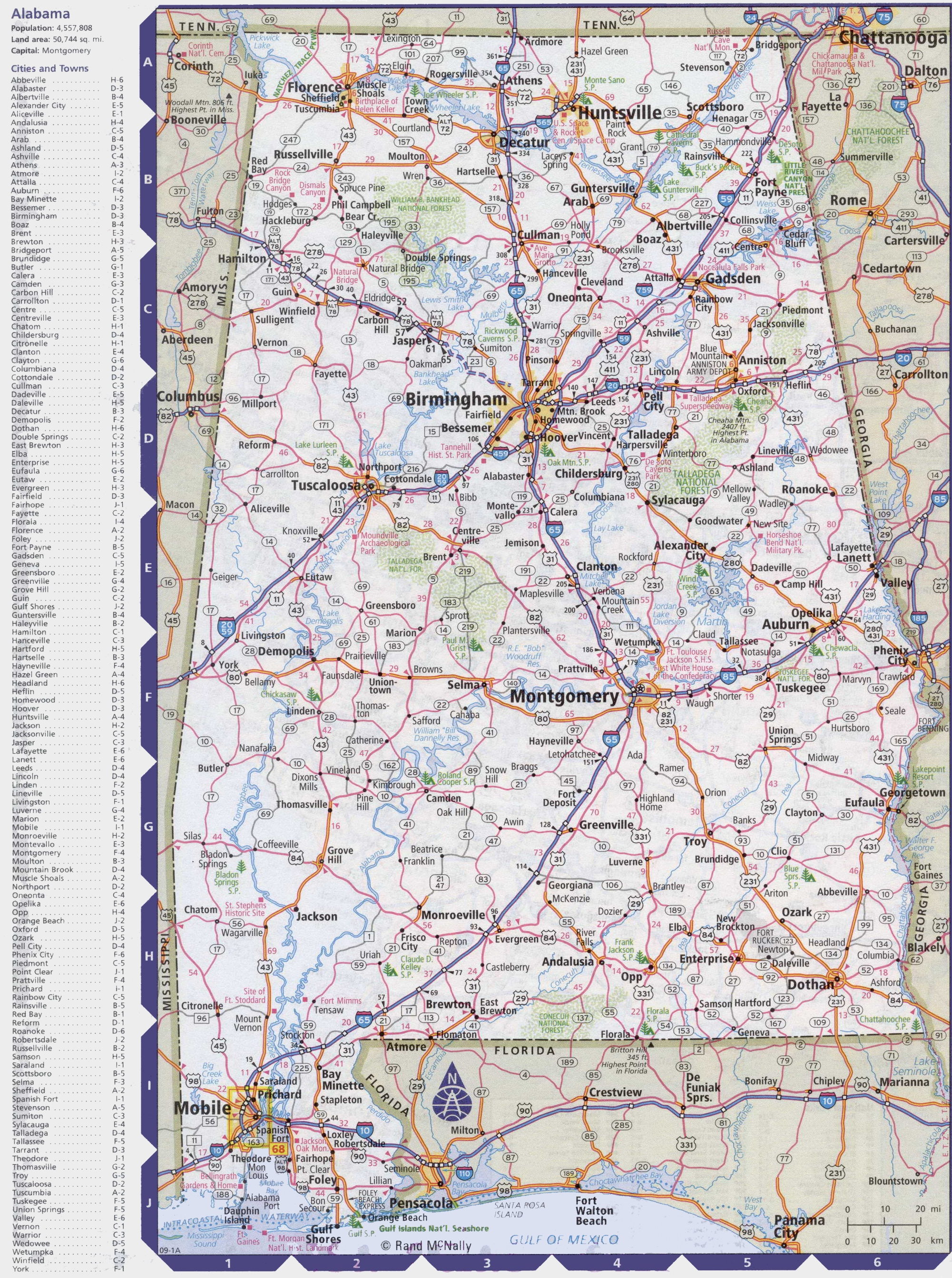 Map Of Alabama With Cities And Towns - Alabama in usa map