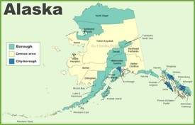 Alaska boroughs and census area map