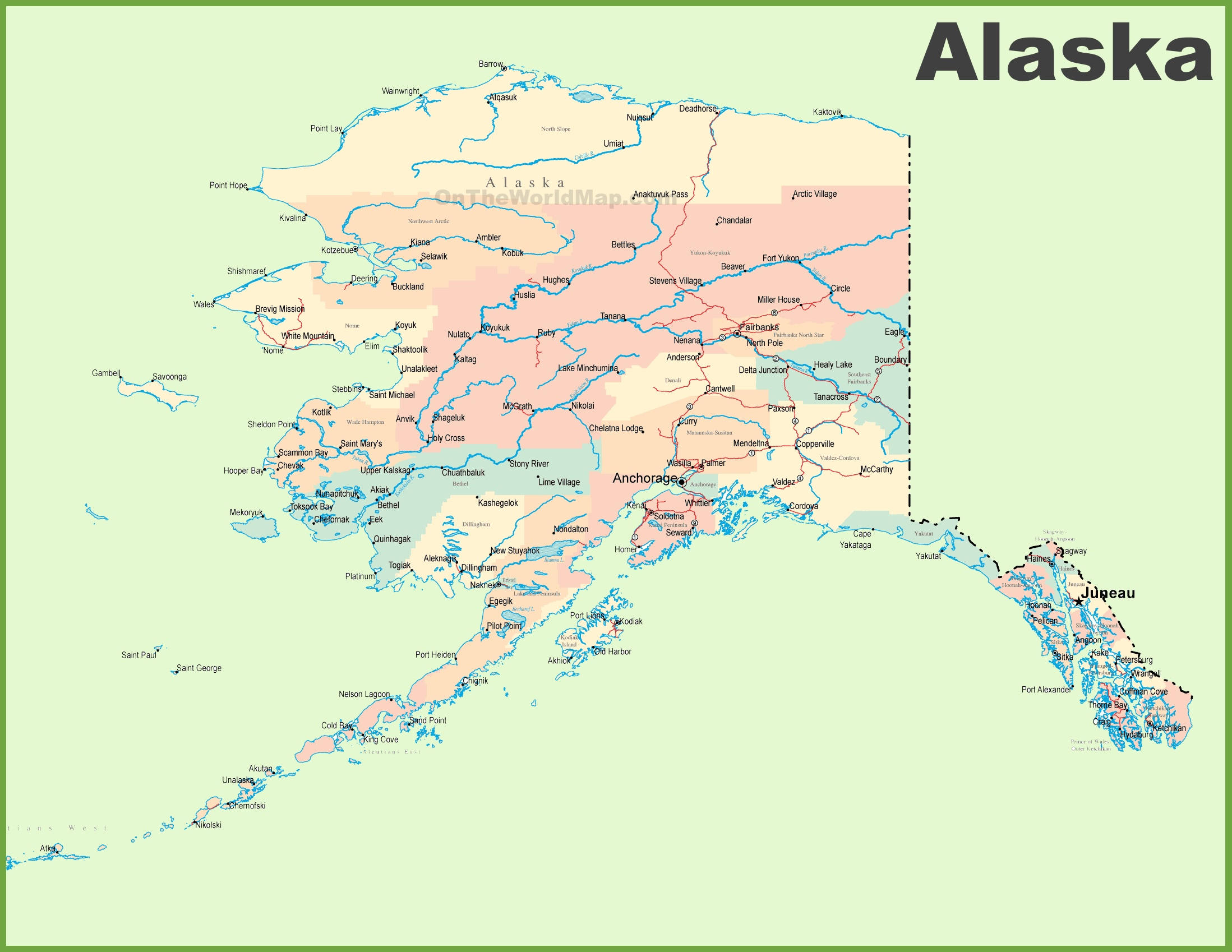 Large detailed map of Alaska