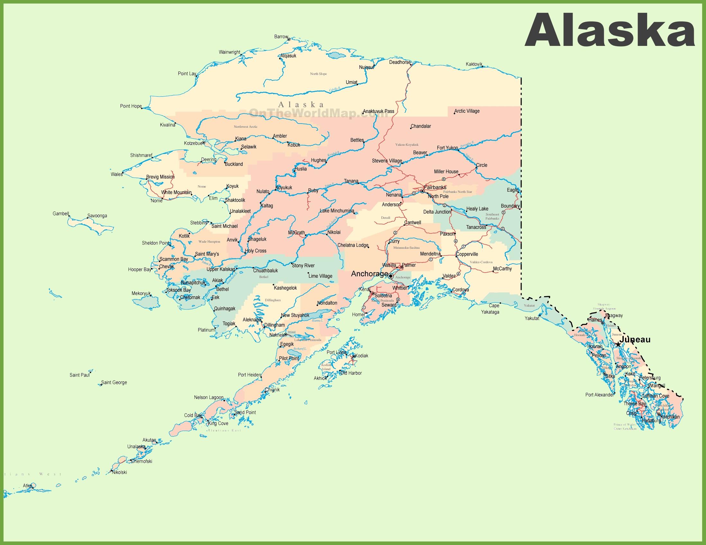 State Of Alaska Map Large detailed map of Alaska
