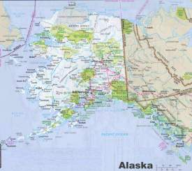 Map of Alaska with cities and towns