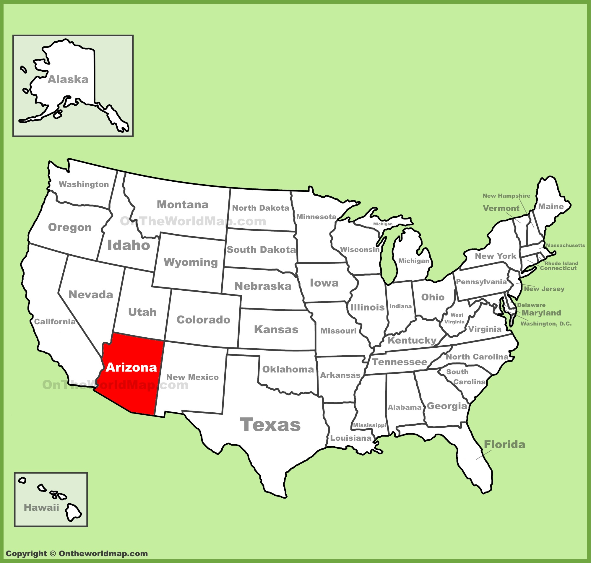 Arizona On Map Arizona location on the U.S. Map