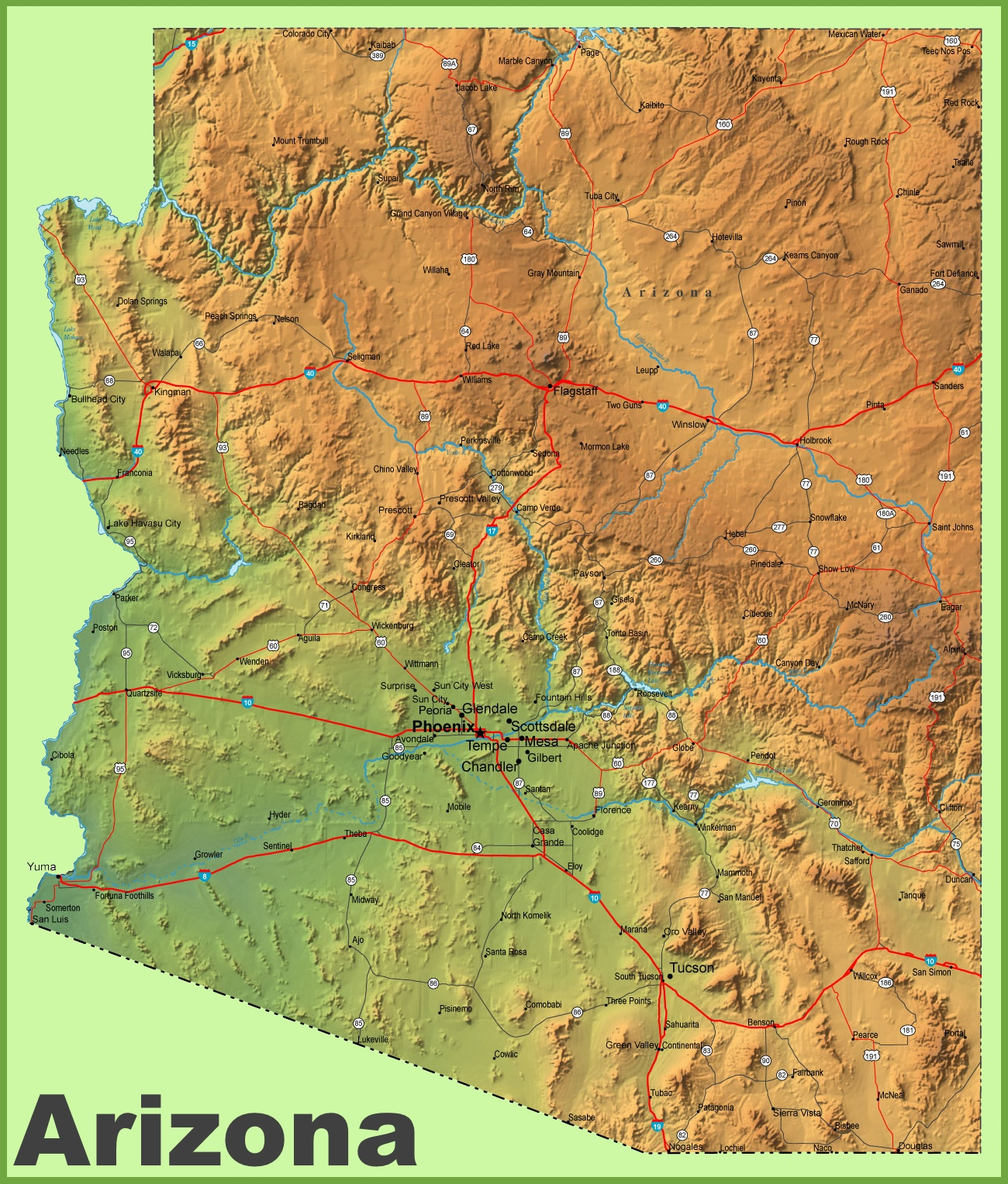 Arizona Physical Map - Physical map of usa
