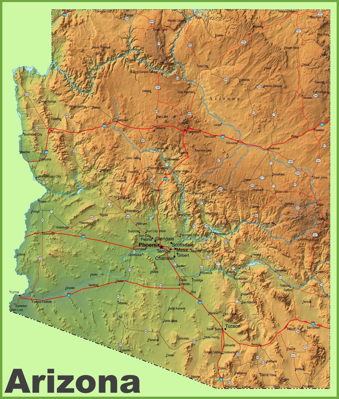 Physical Map Of Arizona Arizona physical map