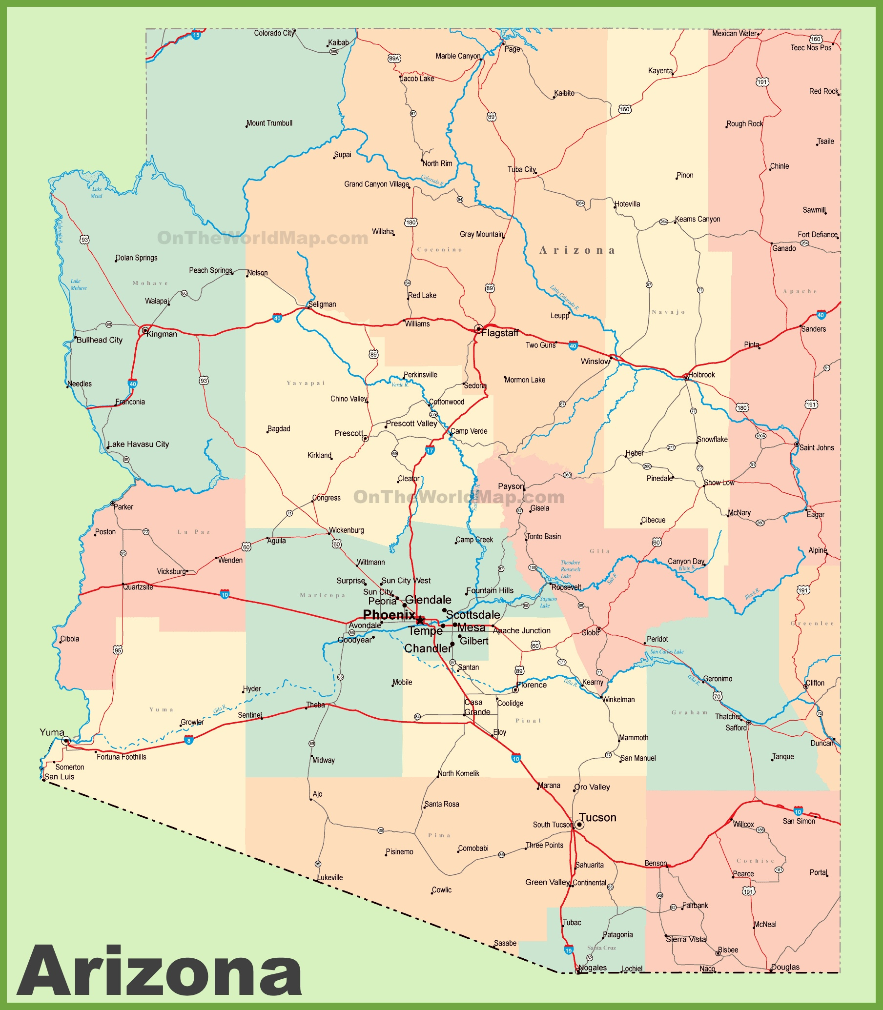 arizona road map with cities and towns