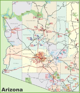 Arizona sightseeing map