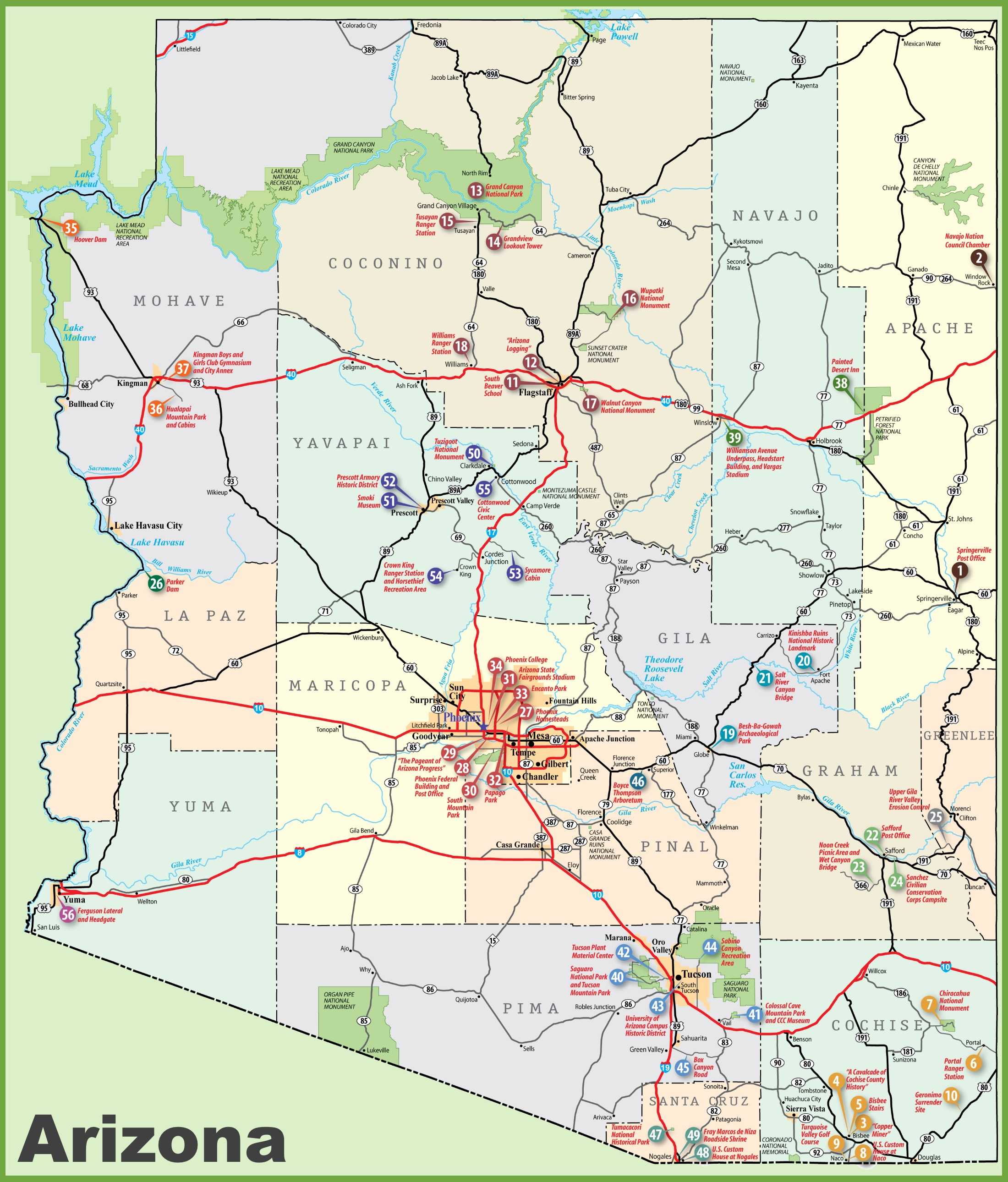 Arizona Landmarks Map Arizona sightseeing map