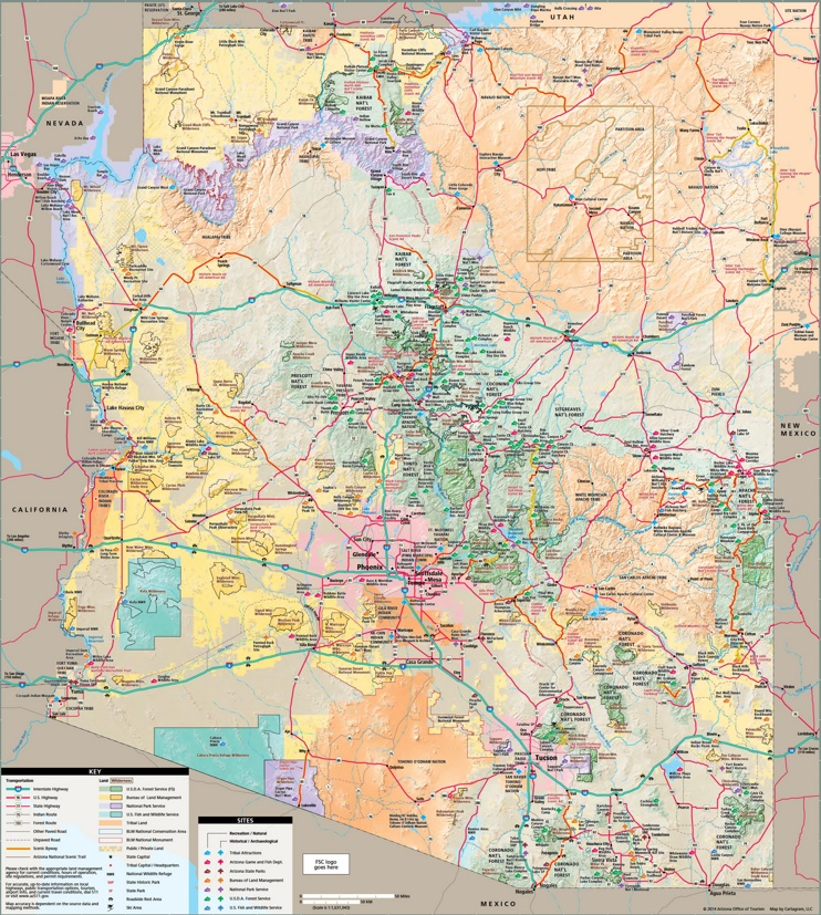 Arizona tourist map