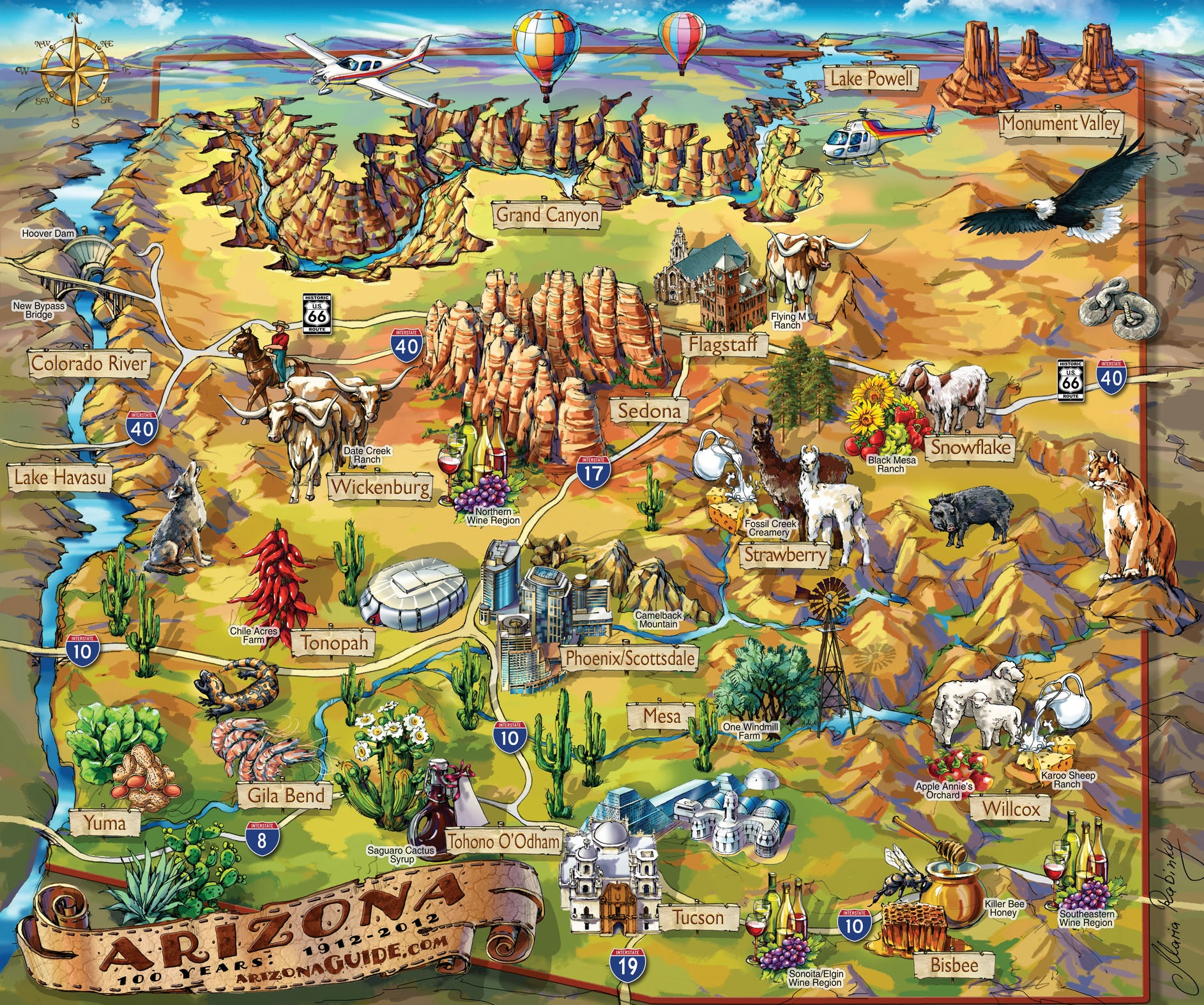 Arizona Points Of Interest Map.Arizona Travel Illustrated Map