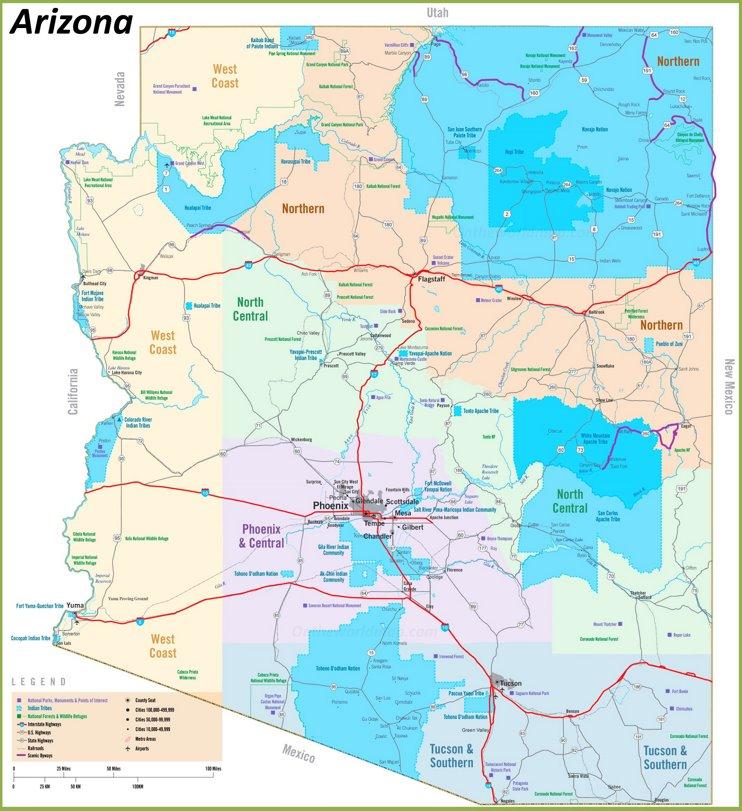 Arizona tribal lands map