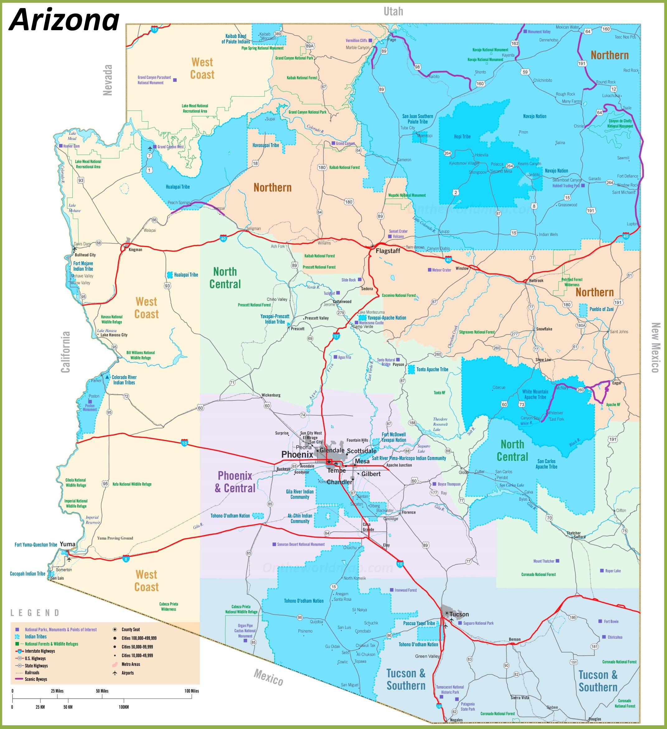 Supai Arizona Map.Arizona Tribal Lands Map