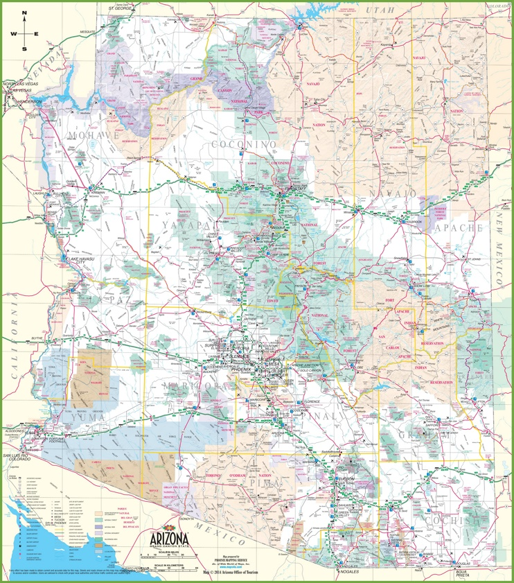 Large detailed map of Arizona with cities and towns