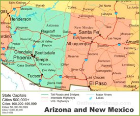 Map of Arizona and New Mexico