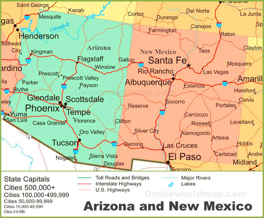 Map Of Arizona And New Mexico Map of Arizona and New Mexico