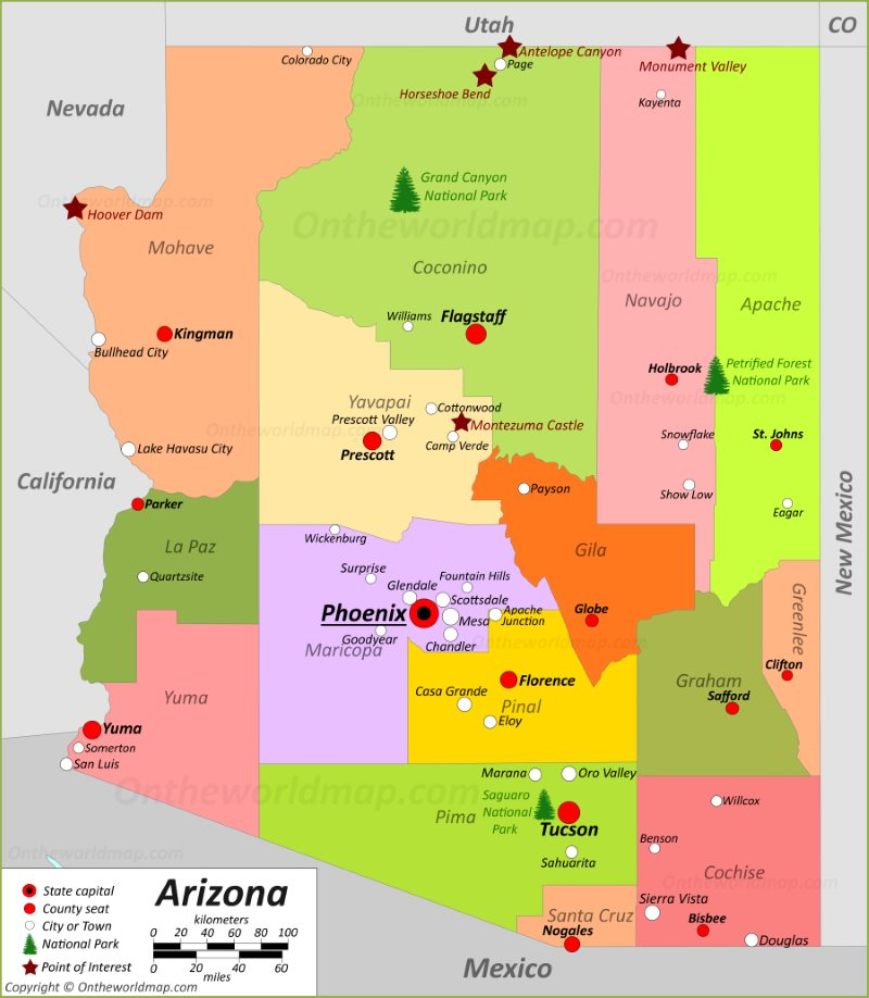 Az Map Cities Arizona State Maps | USA | Maps of Arizona (AZ)