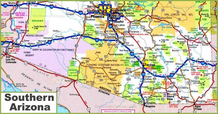 Map of Southern Arizona