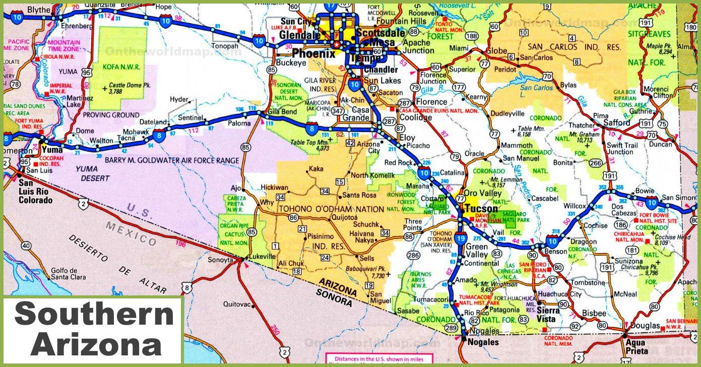 Southern Arizona Map Map of Southern Arizona