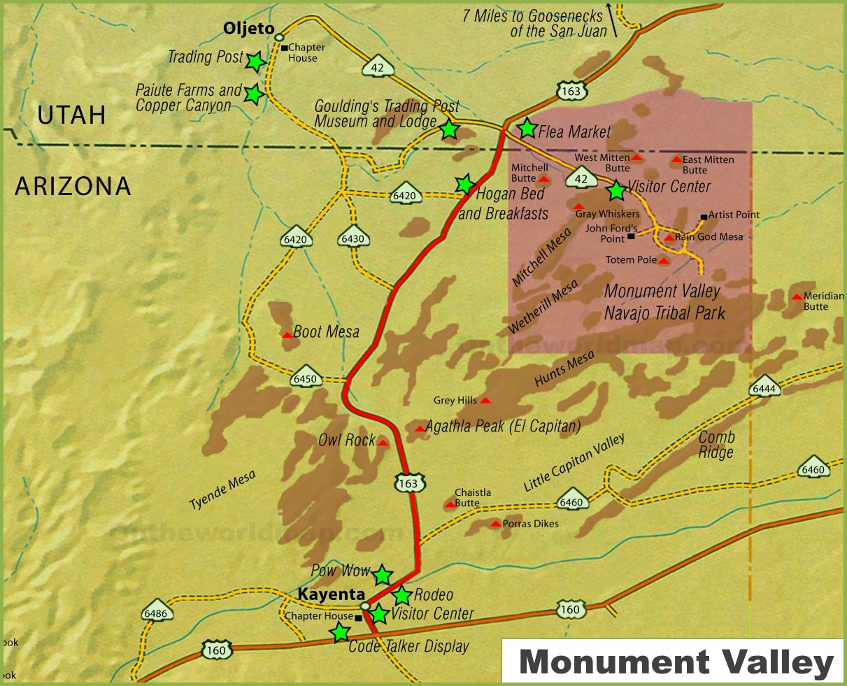 Map Of Arizona Monument Valley.Monument Valley Map