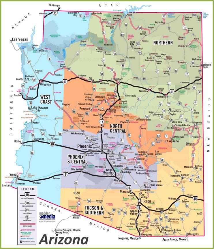 Travel map of Arizona