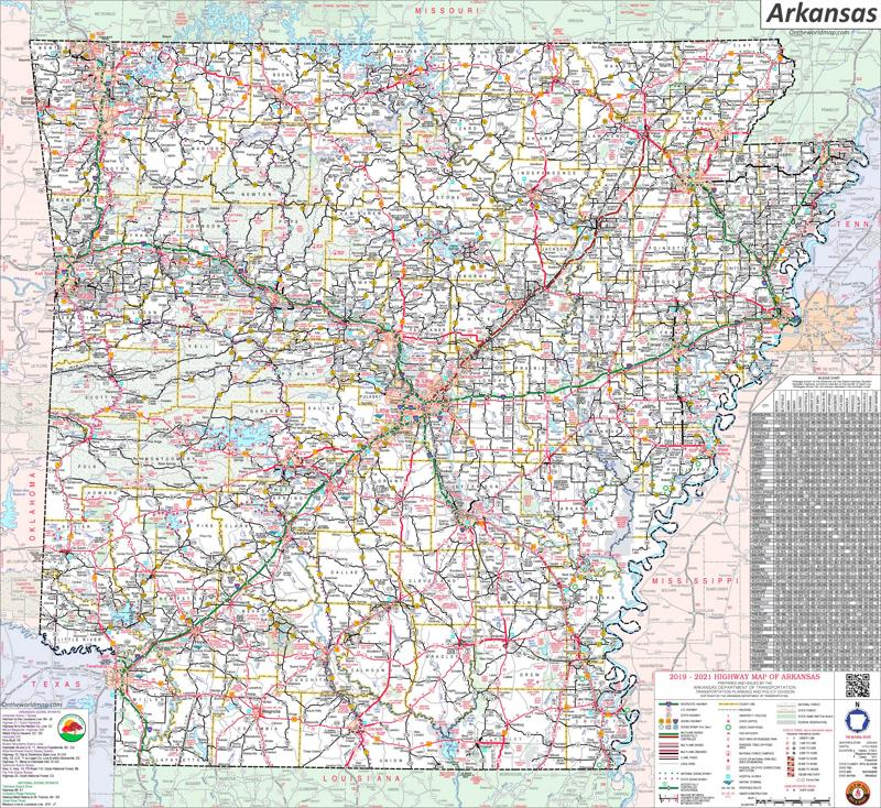 Large Detailed Map of Arkansas With Cities And Towns