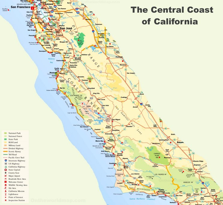 California Central Coast Map