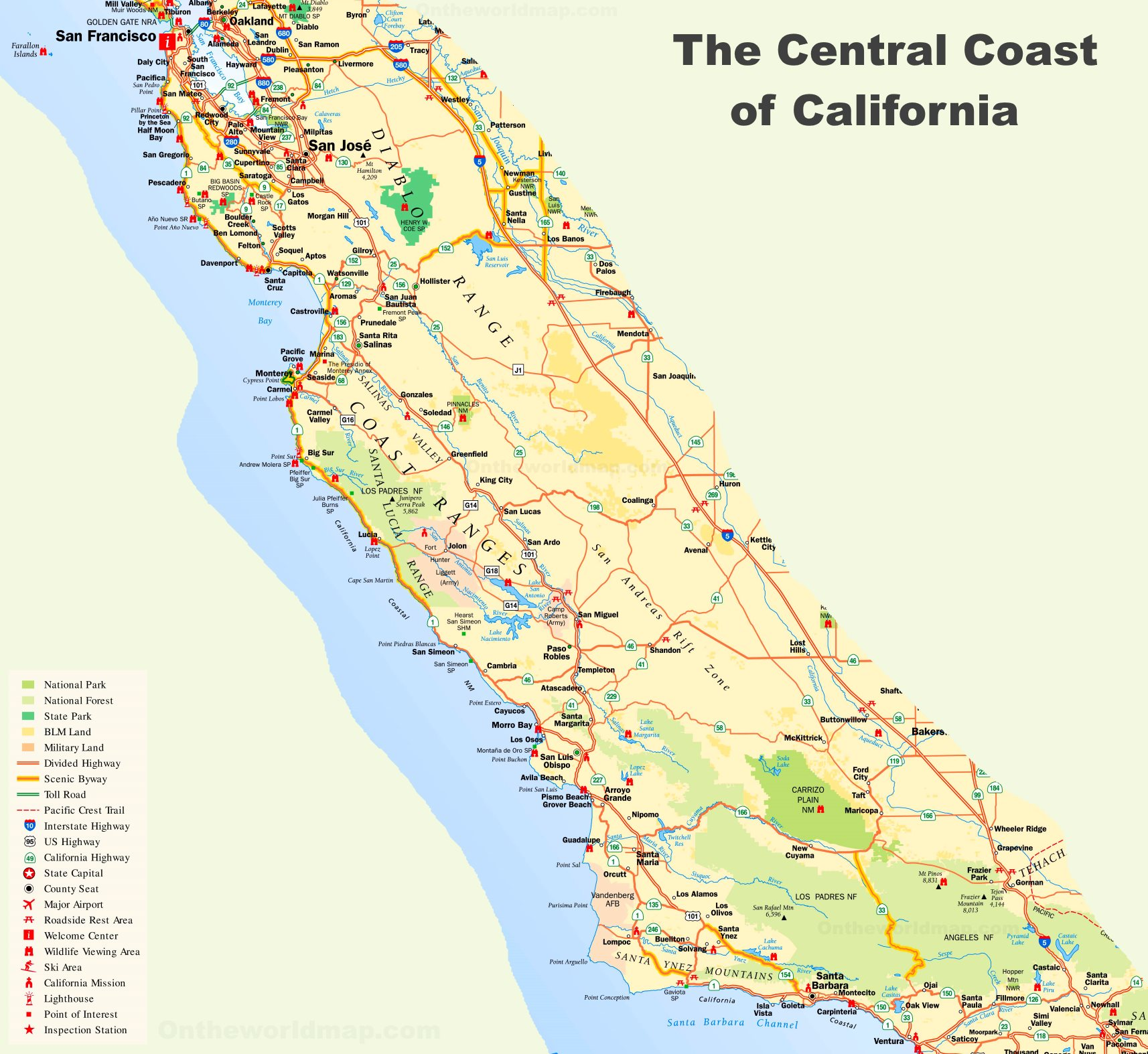 Map Of Central Coast California Central Coast Map