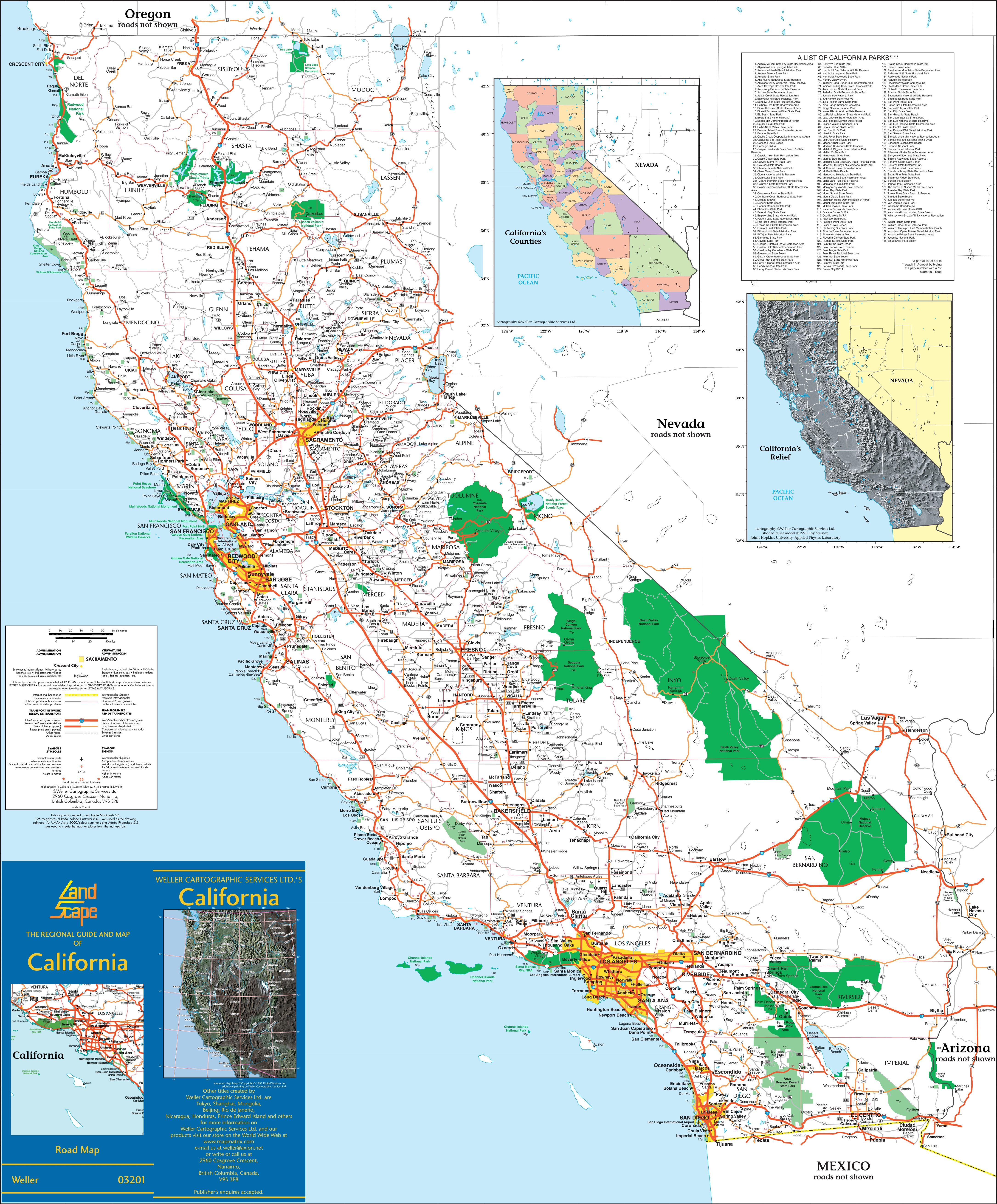 Large detailed map of California with cities and towns