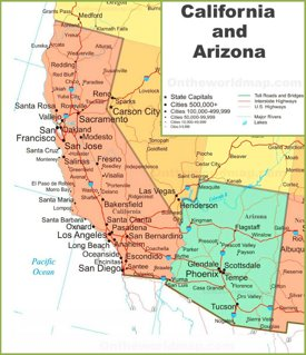 Map of California and Arizona