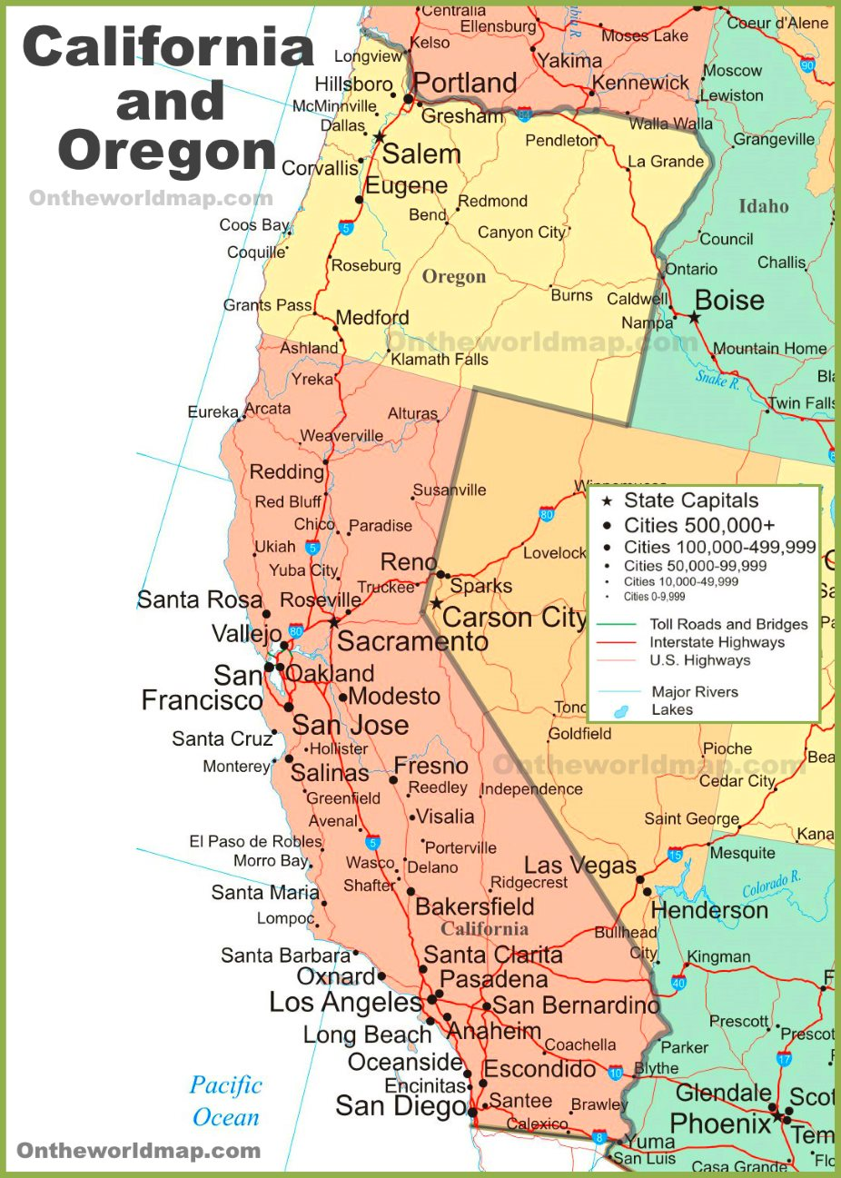 Oregon California Map Map of California and Oregon