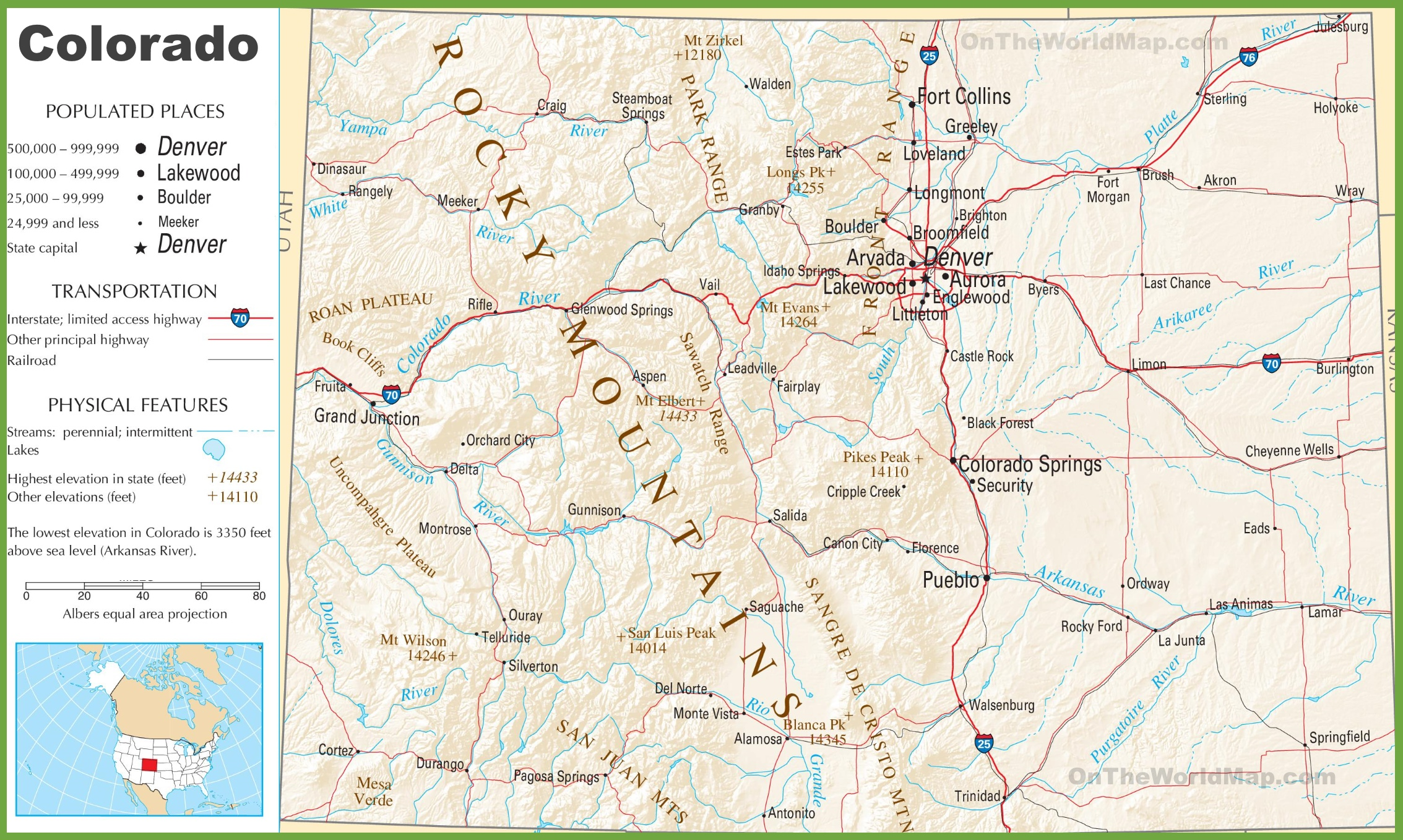 Colorado Highway Map - Map of colorado ski resorts and cities