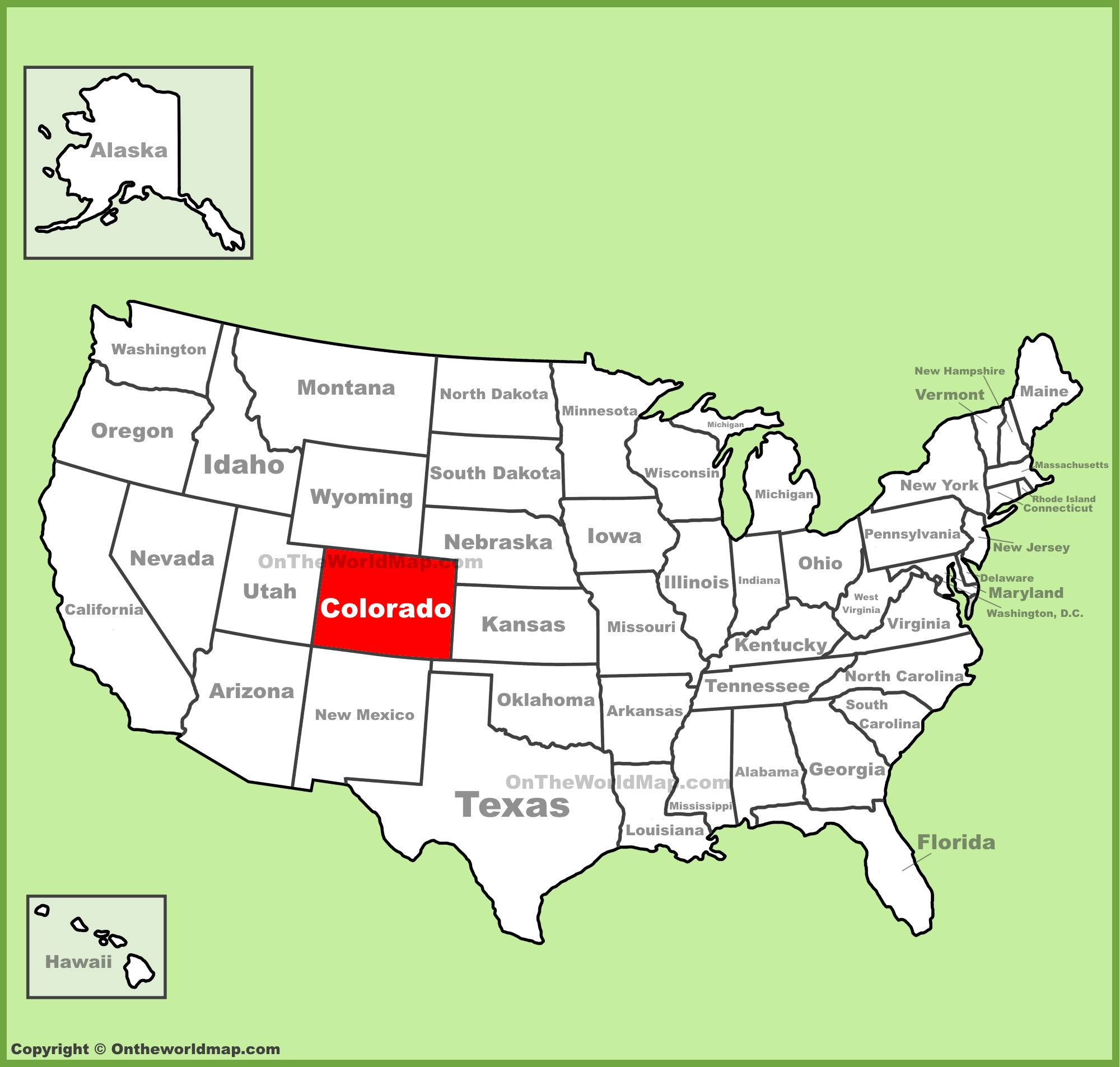 Colorado location on the U.S. Map