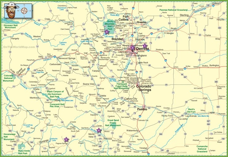 Large detailed map of Colorado with cities and roads