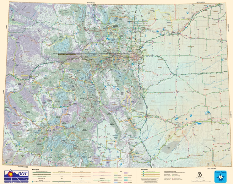Large detailed tourist map of Colorado