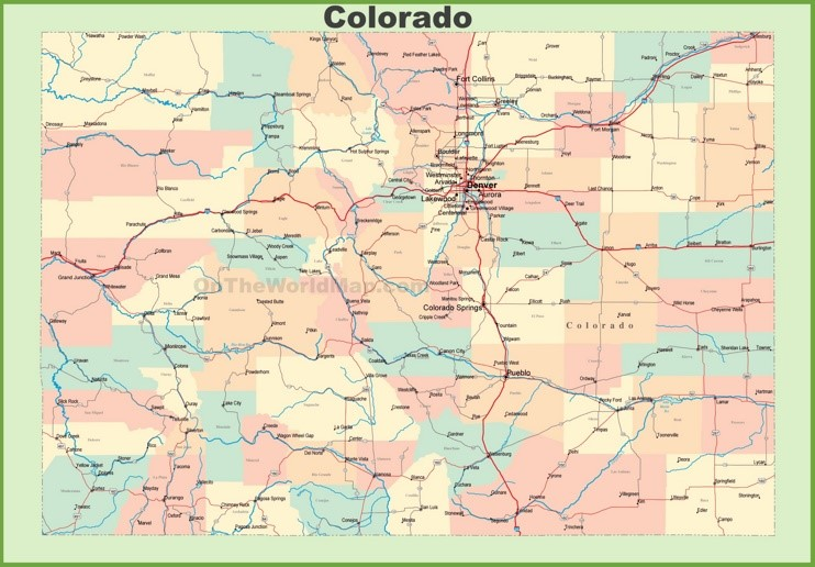 Map of Colorado with cities and towns