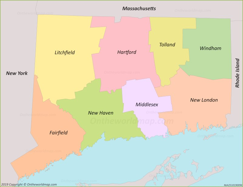map new york connecticut Connecticut County Map map new york connecticut