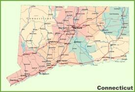 Connecticut road map with cities and towns