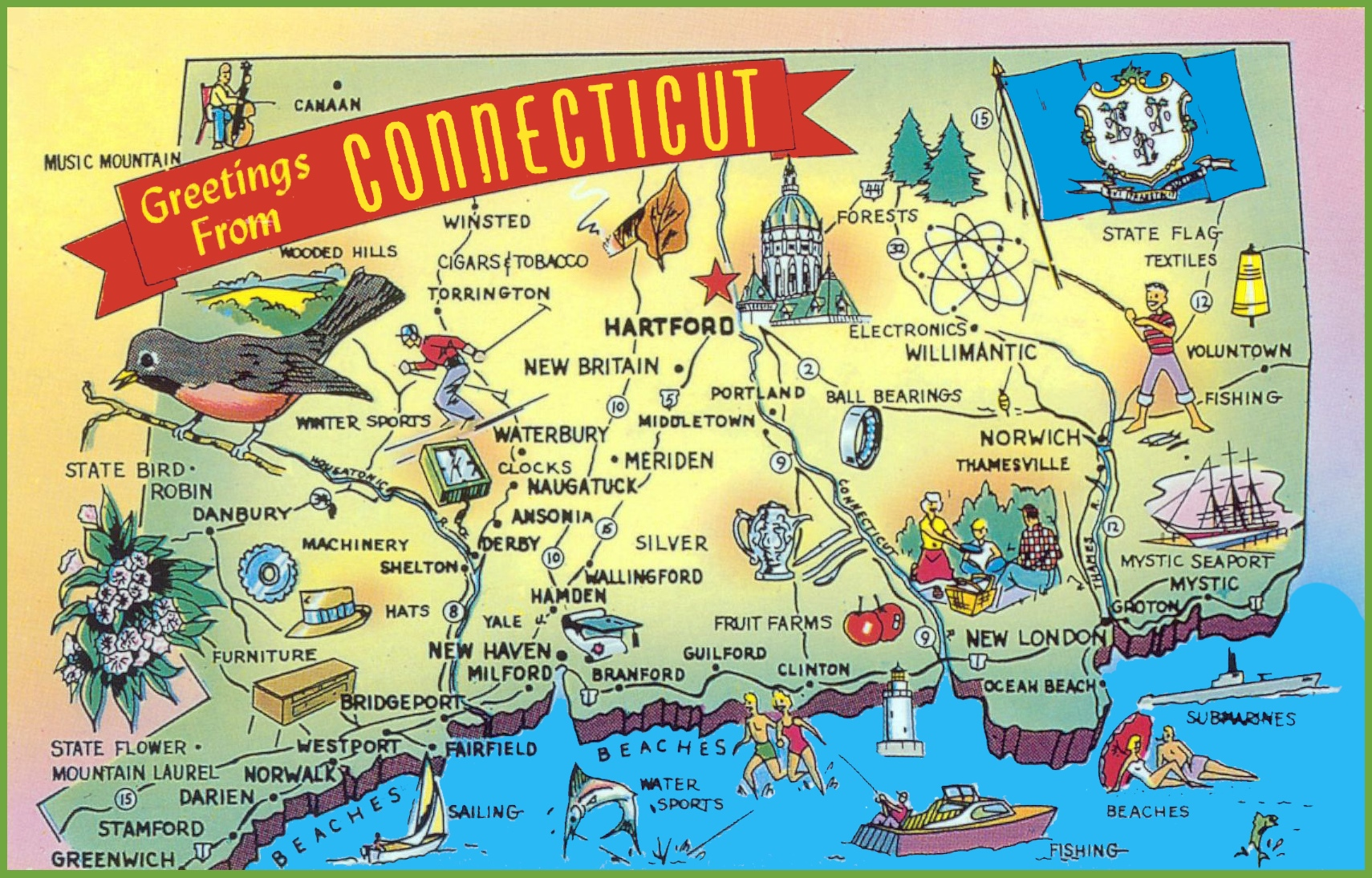 Illustrated tourist map of Connecticut
