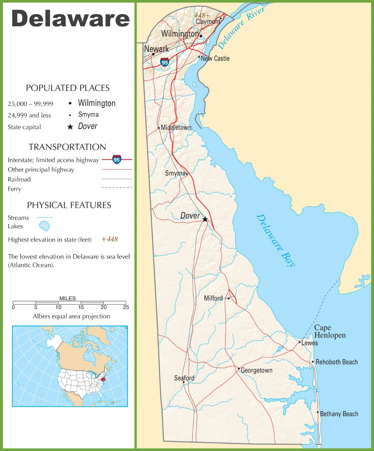 Delaware highway map on
