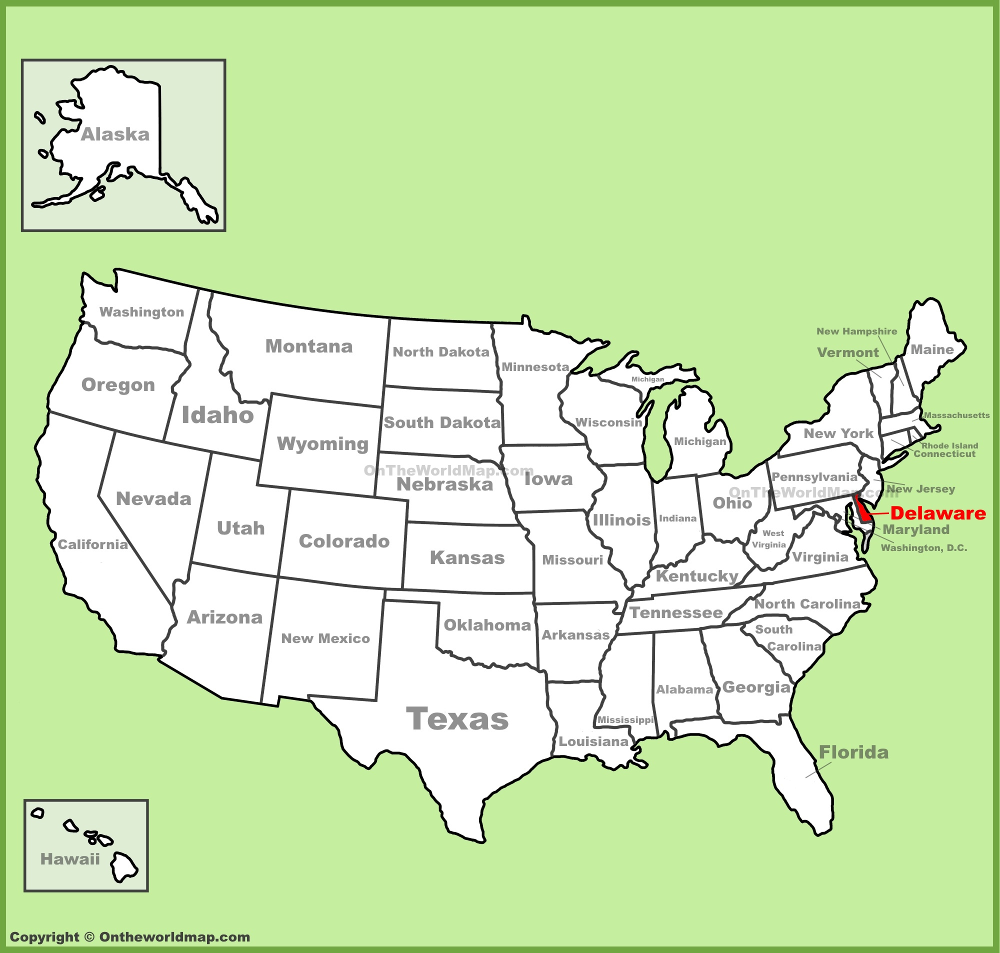 Delaware On Us Map Delaware location on the U.S. Map