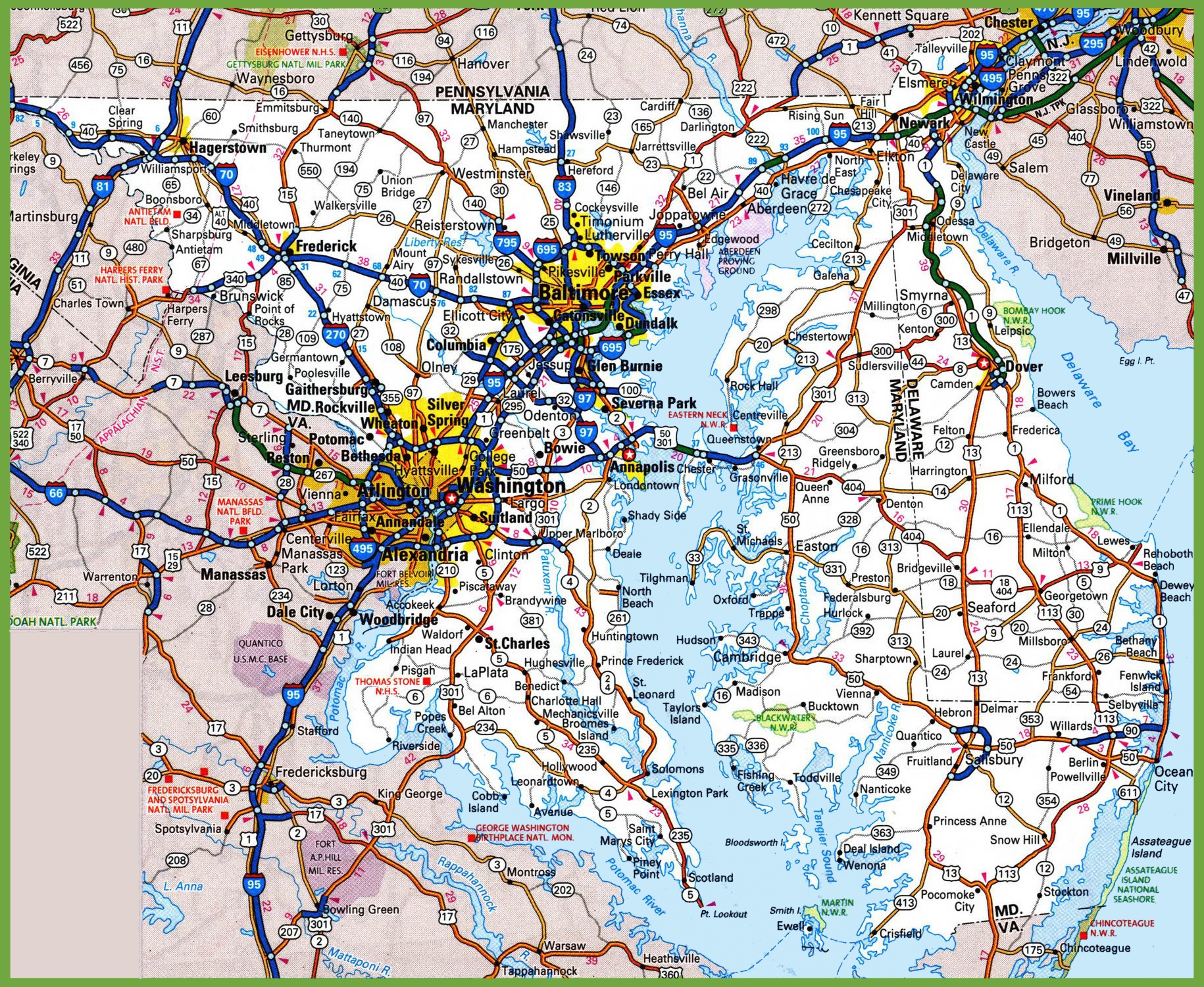 Map Of Delaware And Maryland Map of Delaware and Maryland Map Of Delaware And Maryland