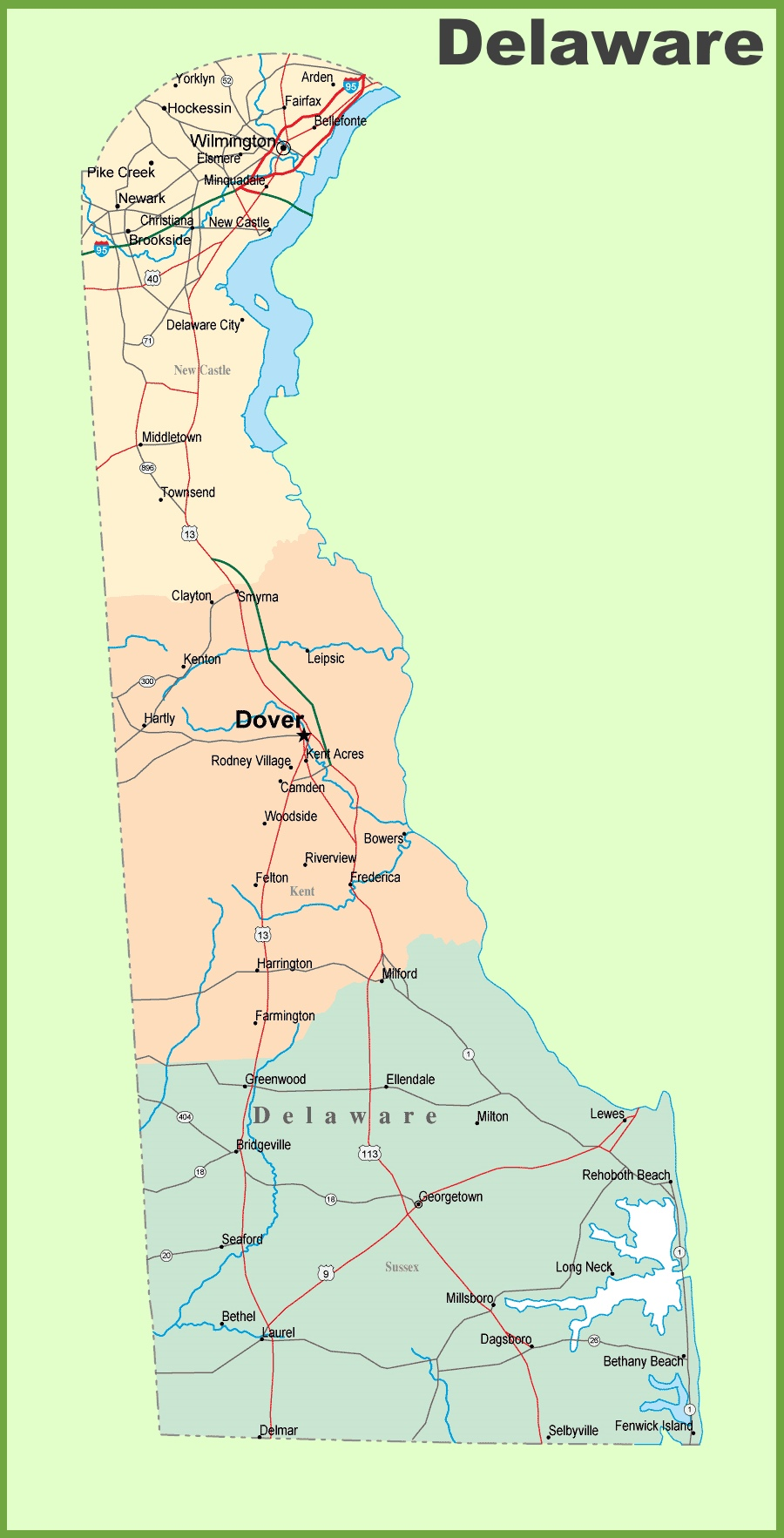 Map Of Delaware With Cities And Towns
