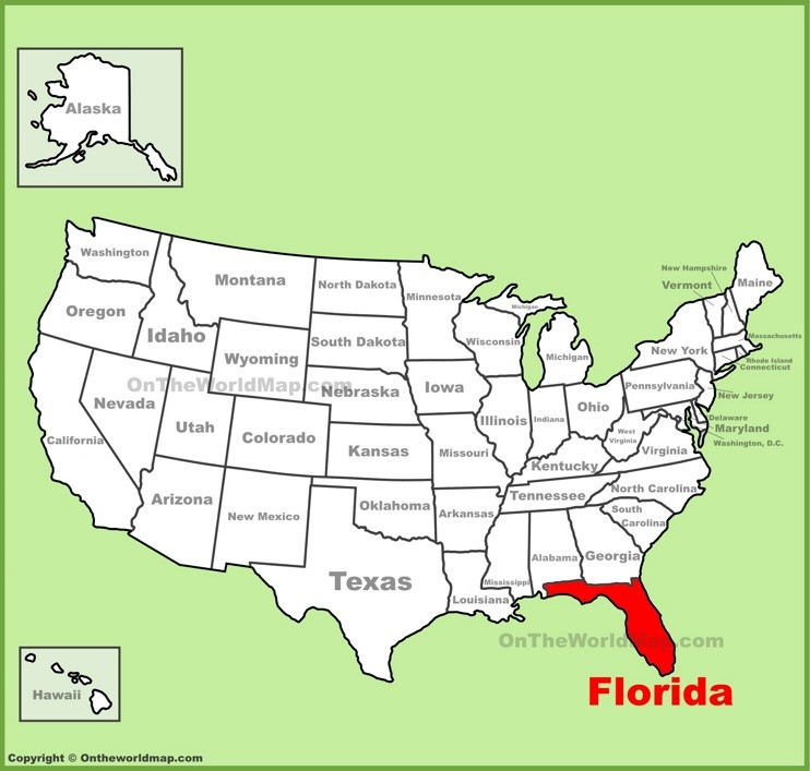 Florida location on the U.S. Map