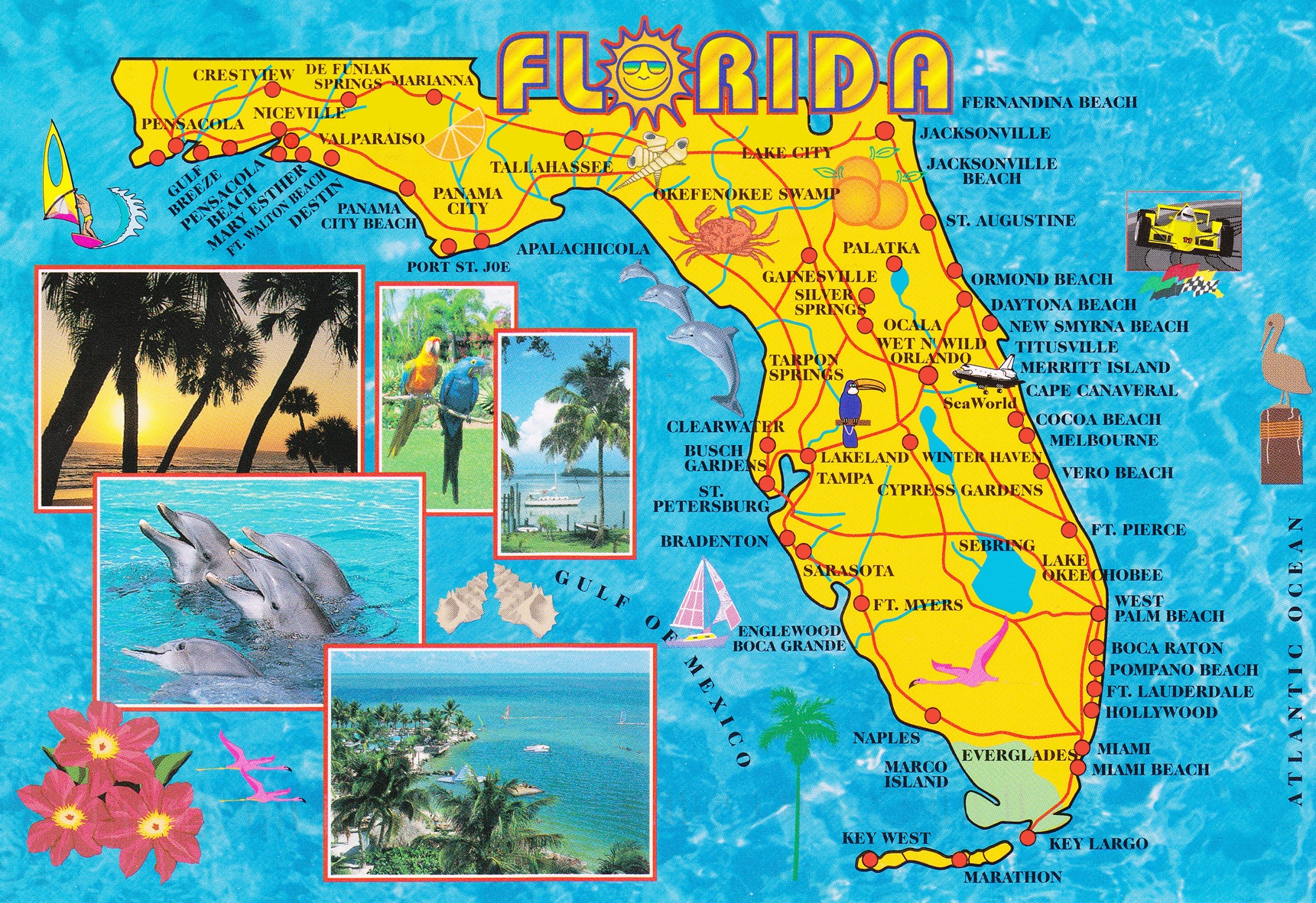 Map Of Florida Usa.Illustrated Tourist Map Of Florida