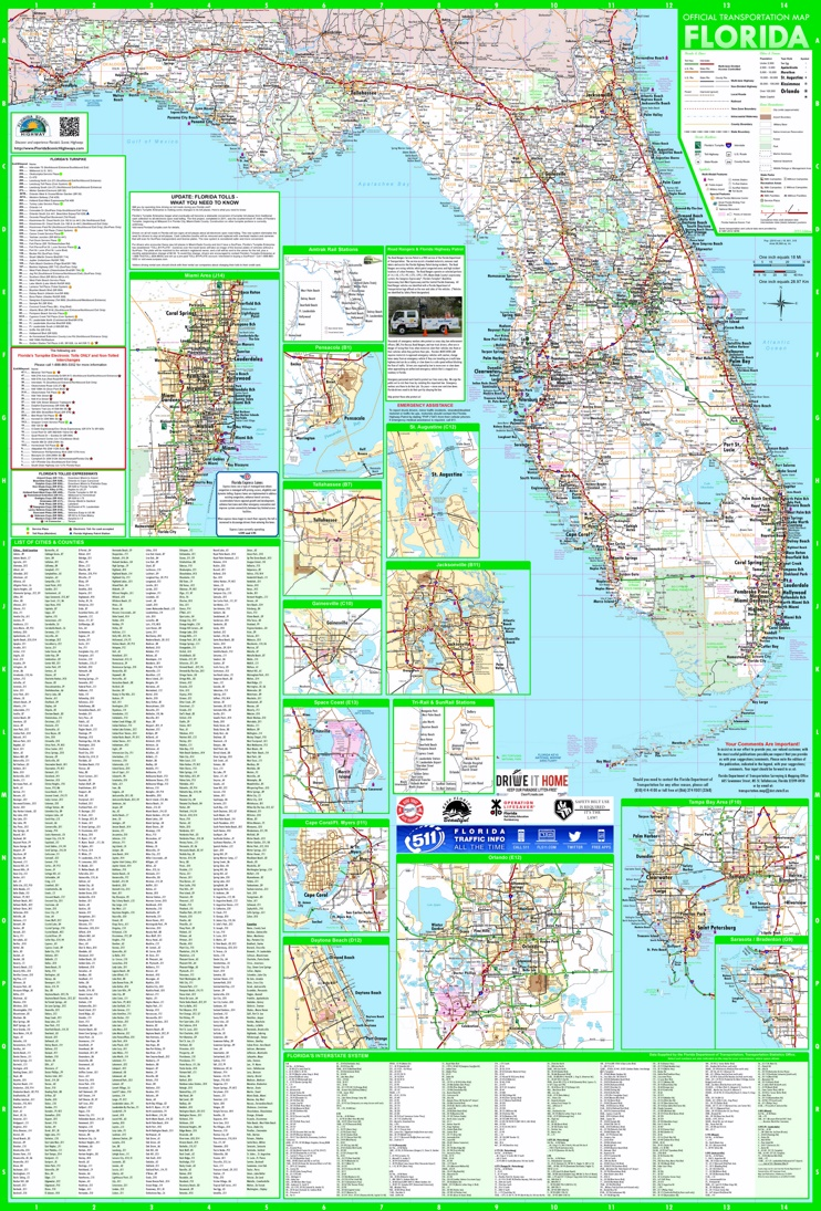 Large detailed map of Florida with cities and towns