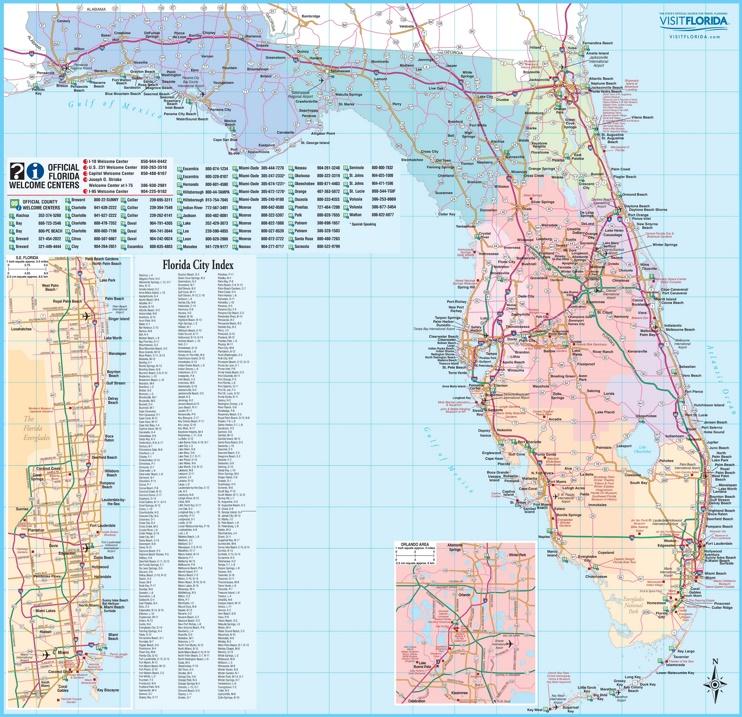 Large detailed tourist map of Florida