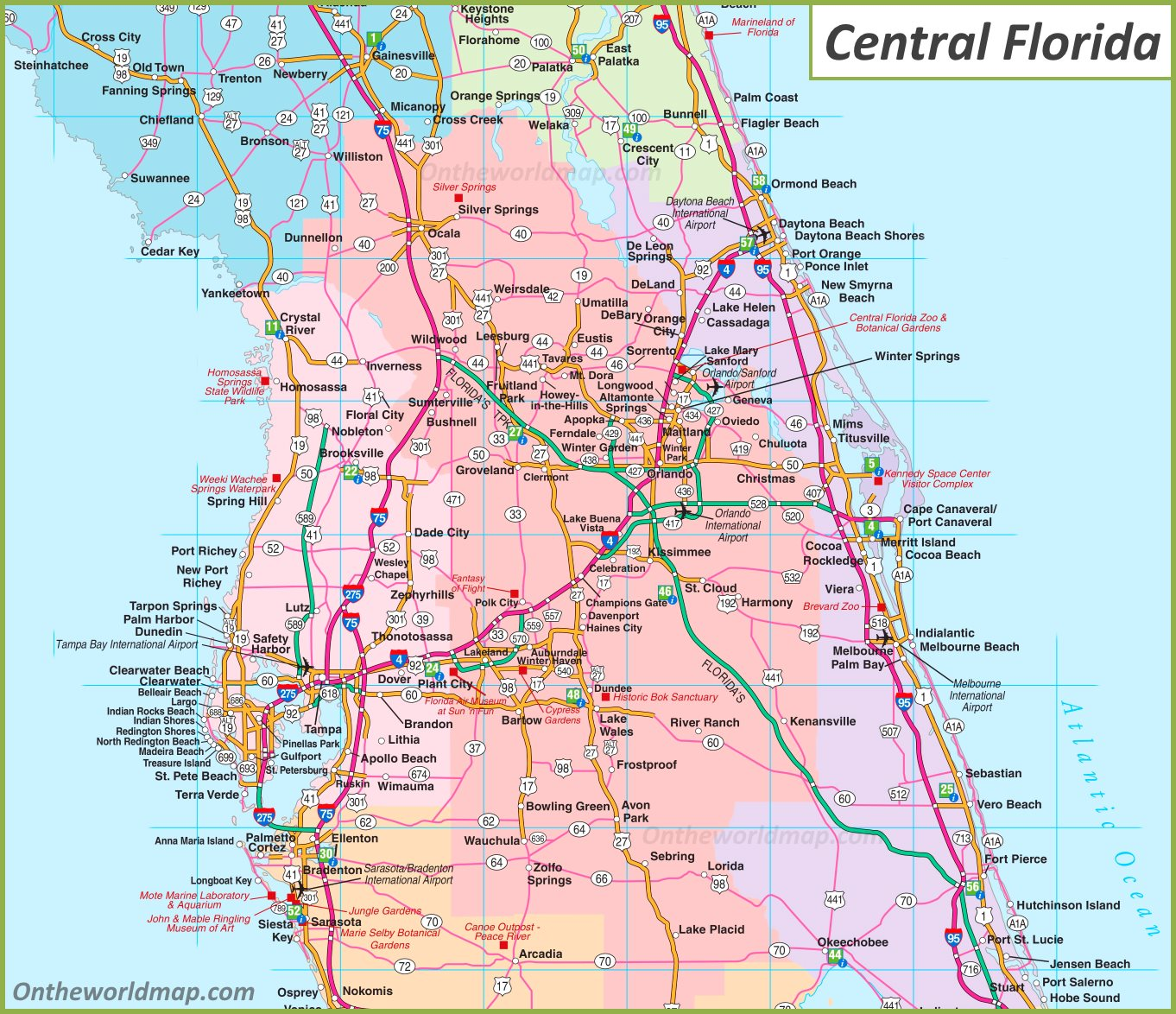 Map Of Central Florida Map of Central Florida
