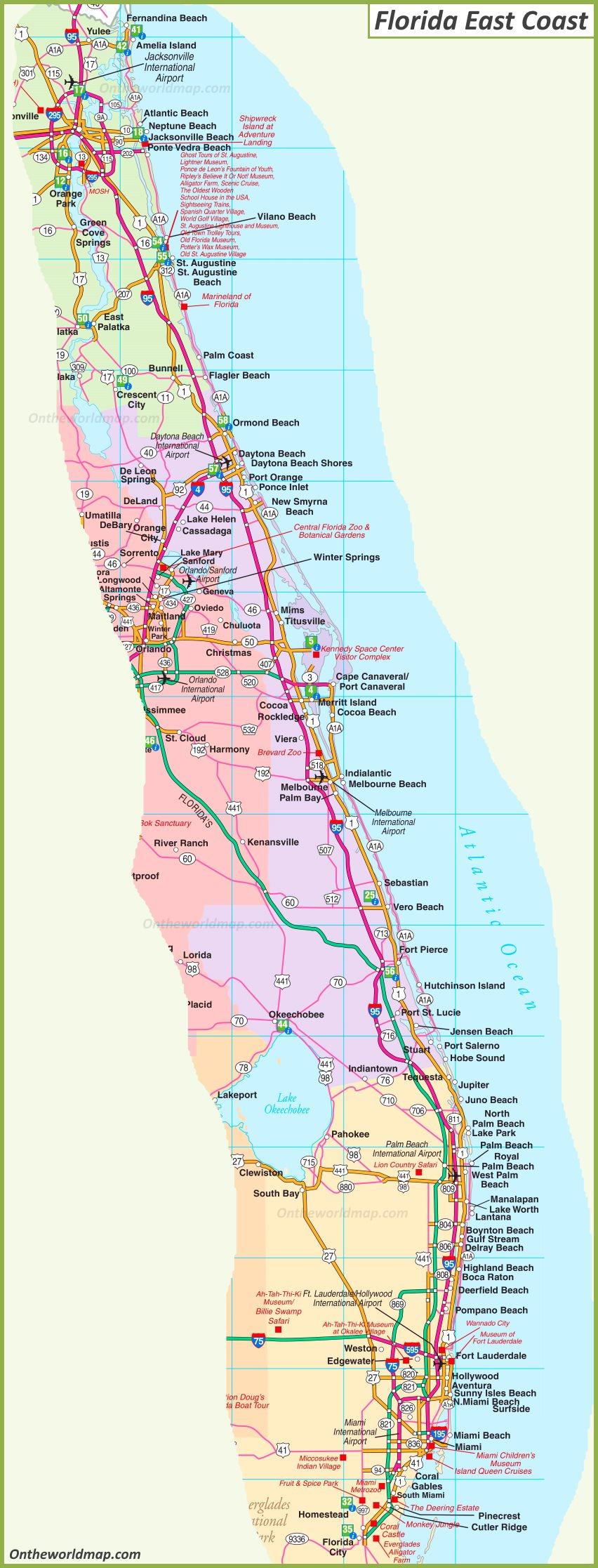 Fl East Coast Map Map of Florida East Coast