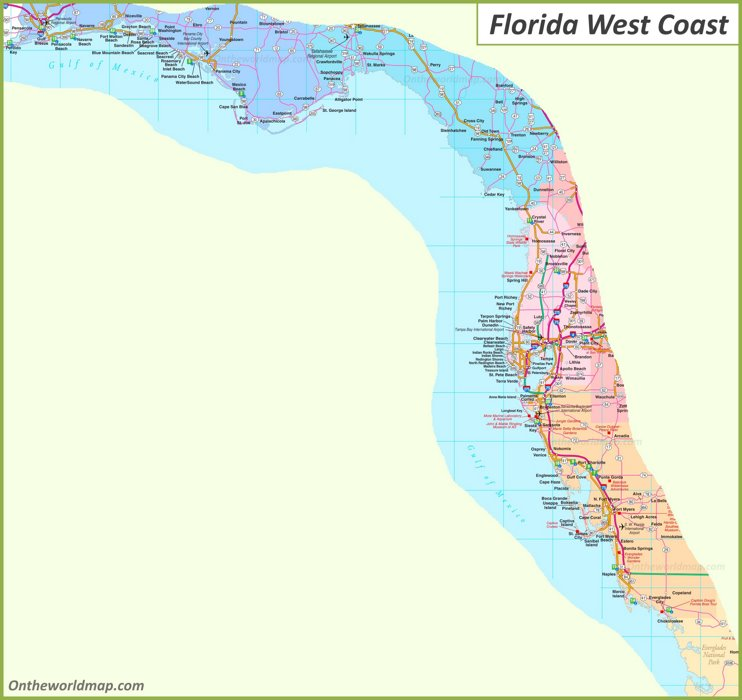 Map of Florida West Coast
