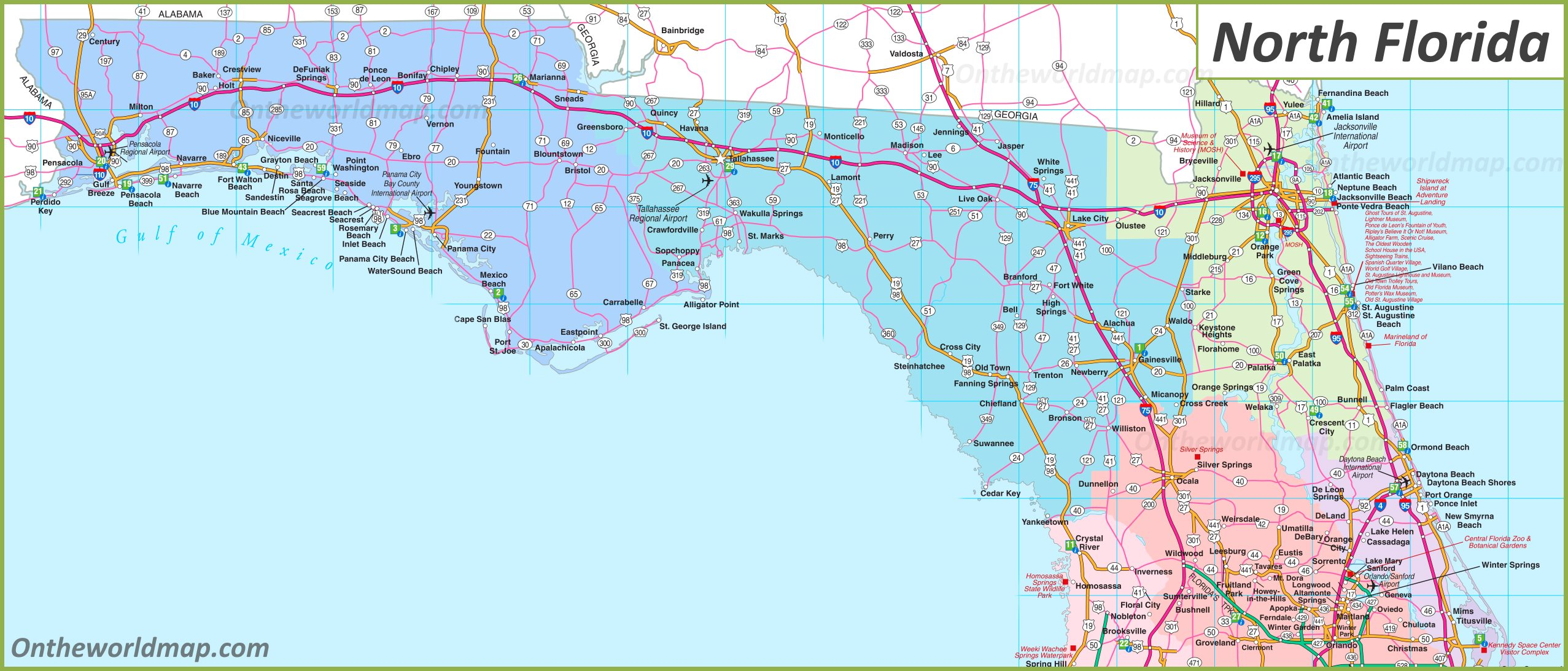 North Florida Map Map of North Florida